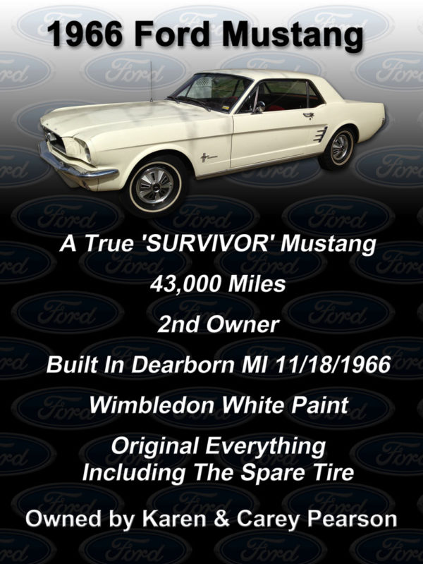 1966 Ford Mustang Car Show Board