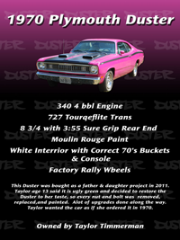 1970 Duster Car Show Sign