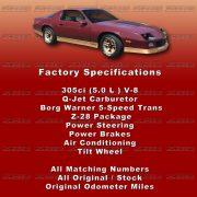 85 Camaero Z28 Car Show Board