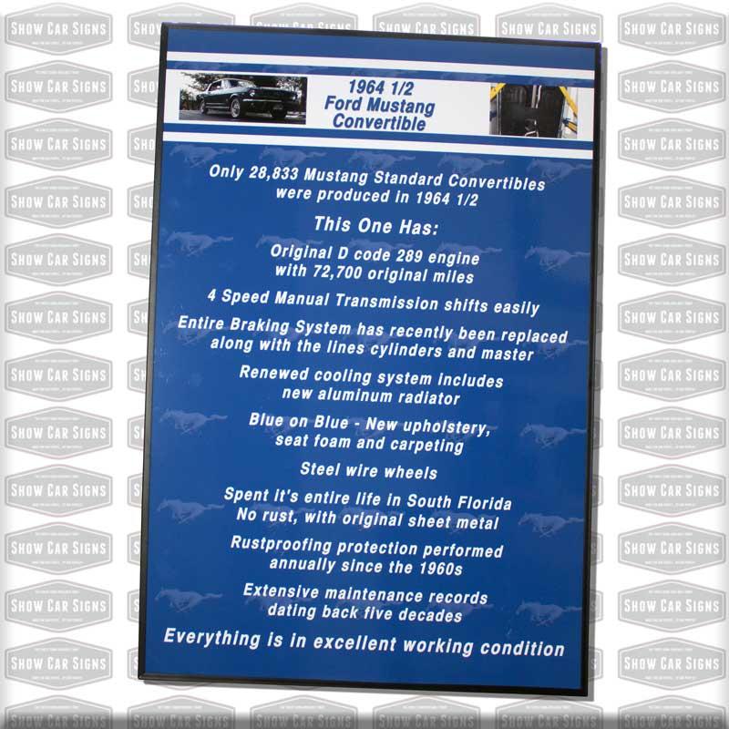 64 Mustang Car Show Board