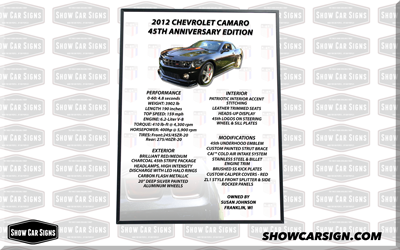 2012 Camaro Car Show Board