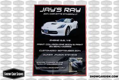 2014 Corvette Stingray Car Show Board
