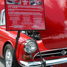 Sunbeam Tiger Car Show Board