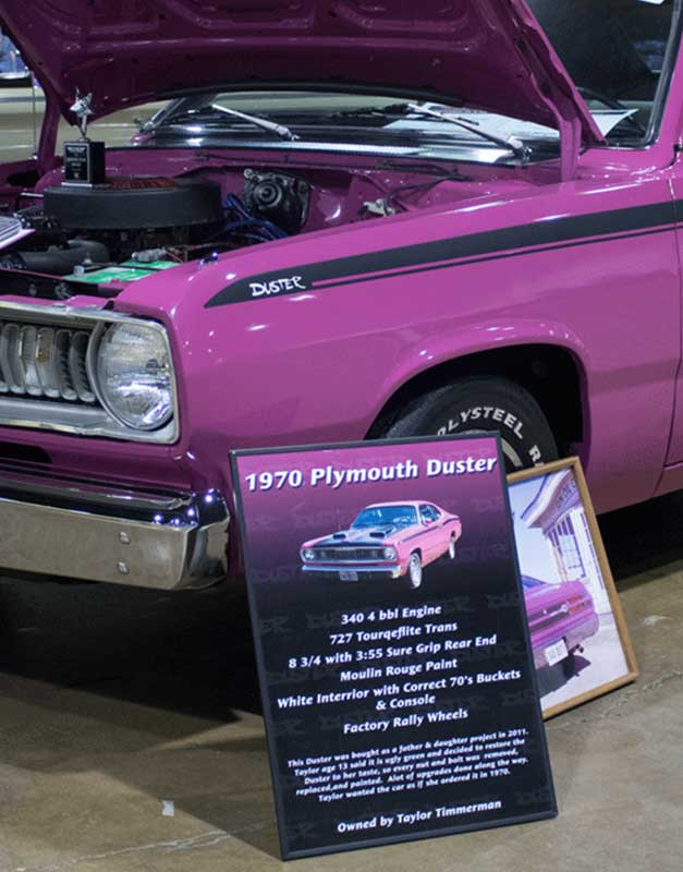 70 Duster Car Show Board